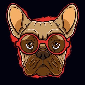 Cabeza de bulldog francés con gafas ilustración