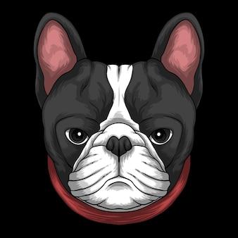 Cabeza de bulldog francés con ilustración de dibujos animados de cuello rojo sobre fondo negro
