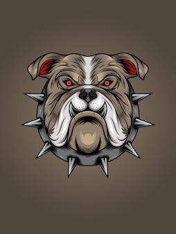 Cabeza de bulldog marrón con ilustración de collar de espina de metal