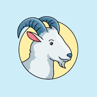 Cabeza de cabra animal esquema simple ilustración vectorial. diseño de la insignia del logotipo de la granja ganadera