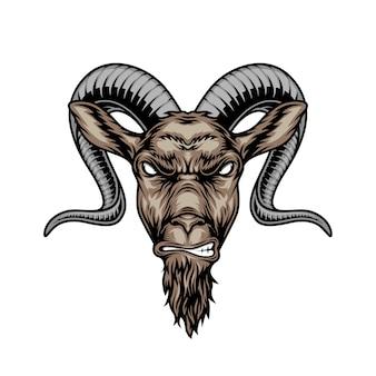 Cabeza de cabra con cuernos enojado colorido