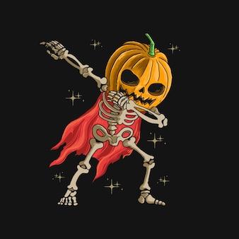 Cabeza de calabaza esqueleto dabbing danza ilustración gráfica