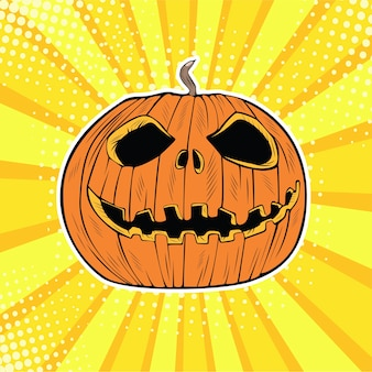 Cabeza de calabaza de halloween arte pop jack