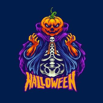 Cabeza de calabaza de halloween