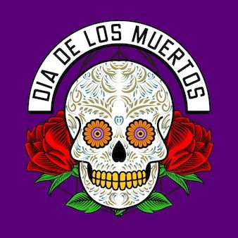 Cabeza de calavera decorativa día de muertos ilustración de méxico