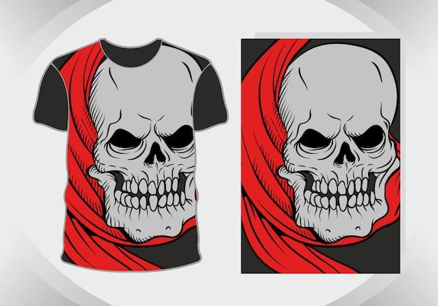 Cabeza de calavera, ilustración macabra para diseño de camiseta
