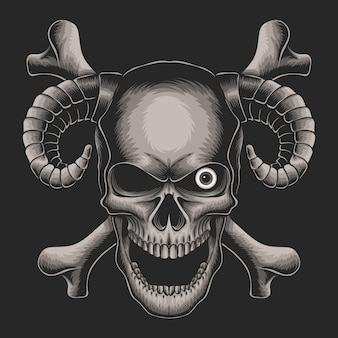 Cabeza de calavera con ilustración de un ojo sobre fondo negro