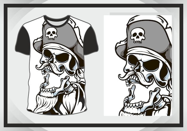 Cabeza de calavera, ilustración oscura para diseño de camiseta