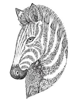 Cabeza de cebra adornada gráfica dibujada a mano con patrón de doodle floral étnico. ilustración para colorear libro, tatuaje, impresión en camiseta, bolso. sobre un fondo blanco.
