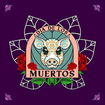 Cabeza de cerdo decorativa día de muertos ilustración de méxico