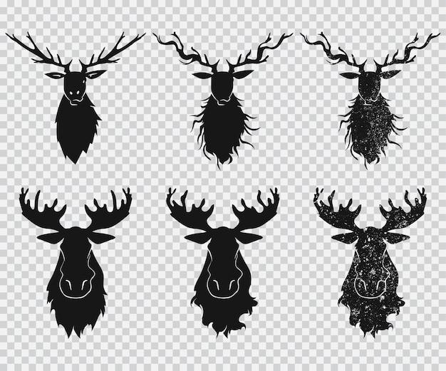 Cabeza de ciervo y alce con iconos de silueta negra de astas en un fondo transparente.