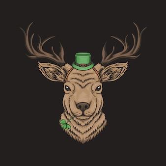 Cabeza de ciervo para el día de san patricio