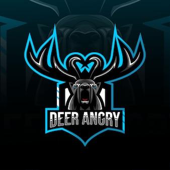 Cabeza de ciervo enojado mascota logo esport diseño