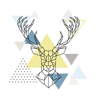 Cabeza de ciervo geométrica abstracta sobre fondo escandinavo