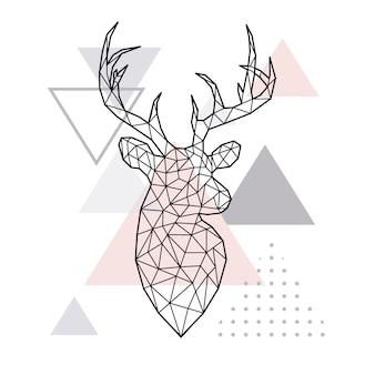 Cabeza de ciervo geométrica abstracta.