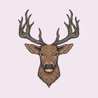 Cabeza de ciervo vintage dibujado a mano