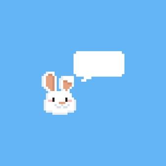 Cabeza de conejo pixel con bocadillo.