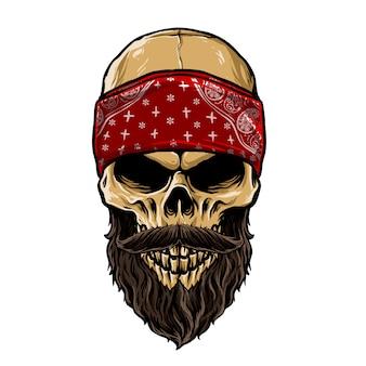 Cabeza de cráneo barbudo con pañuelo