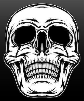 Cabeza de cráneo blanco negro aislado en negro