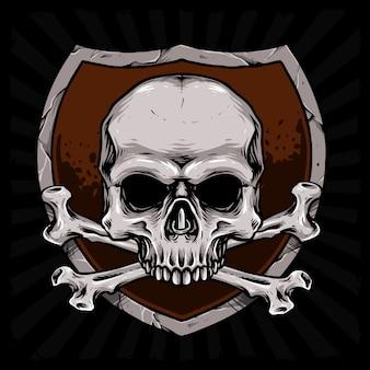Cabeza de cráneo de hueso cruzado con ilustración de escudo