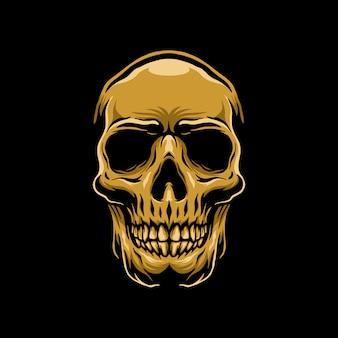 Cabeza de cráneo humano dorado