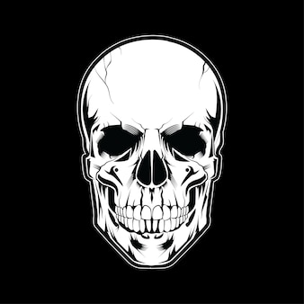 Cabeza de cráneo ilustración estilo blanco sobre fondo oscuro