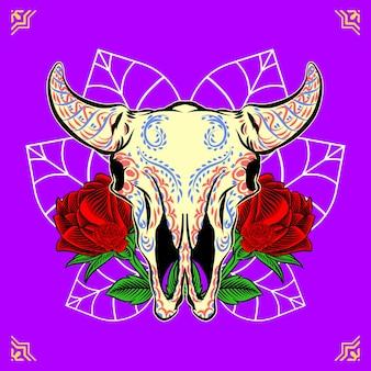 Cabeza de cráneo de toro decorativa día de los muertos ilustración de méxico