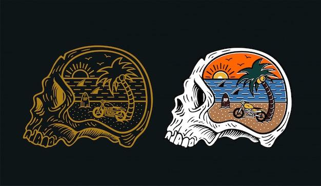 Cabeza cráneo verano moto surf diseño