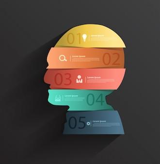 Cabeza creativa con estandartes numéricos.