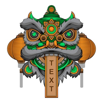 Cabeza de danza del león tradicional china