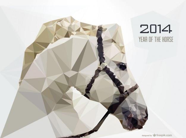 Cabeza de caballo blanco, diseño geométrico para 2014