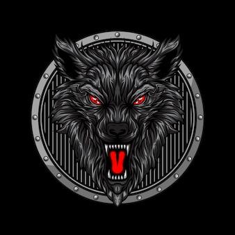 Cabeza de lobo enojado