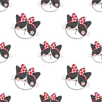 Cabeza de diseño de fondo sin patrón de gato negro