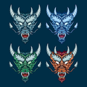 Cabeza de dragón mítico establece ilustración