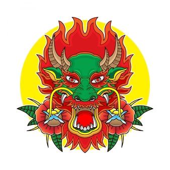 Cabeza de dragón de tatuaje de la vieja escuela