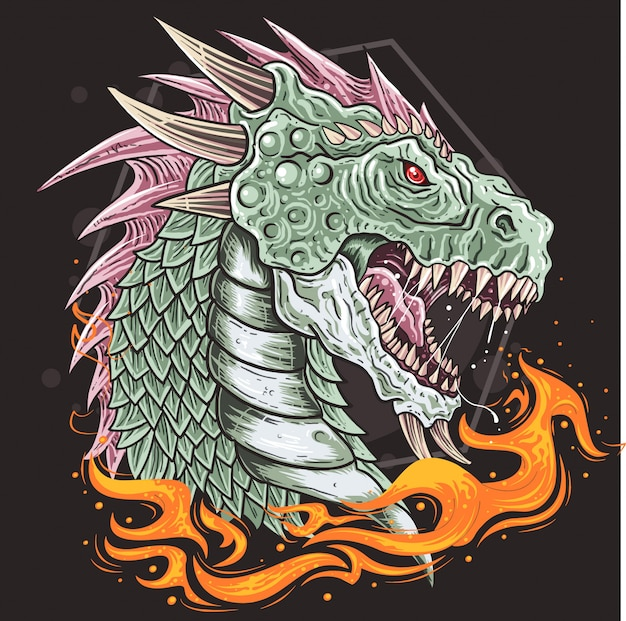 Cabeza de dragón vector de bestia
