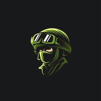 Cabeza ejército logo ilustración