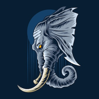 La cabeza de elefante de ganesha se ve muy majestuosa y varonil.