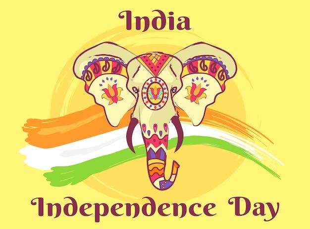 Cabeza de elefante indio con adornos étnicos brillantes