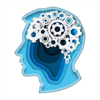 Cabeza con engranaje cerebro papel arte estilo pensamiento concepto