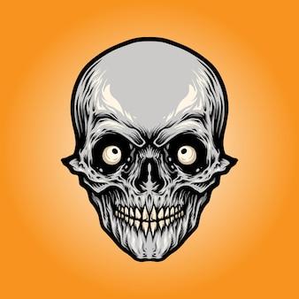 Cabeza, enojado, cráneo