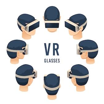 Cabeza en gafas vr, juego de auriculares con realidad virtual isométrica o experiencia educativa, conjunto aislado