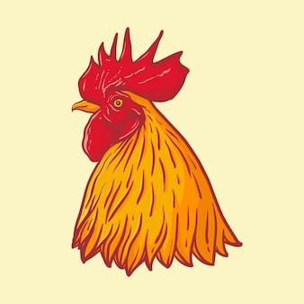 Cabeza gallo clipart aislado