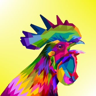 Cabeza de gallo colorido