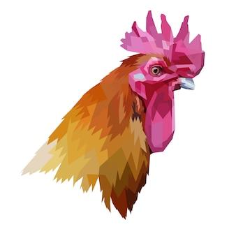 Cabeza de gallo en estilo geométrico.