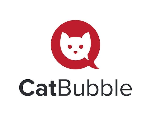 Cabeza de gato con burbuja de chat para comunicación, diseño de logotipo moderno, creativo, elegante y sencillo
