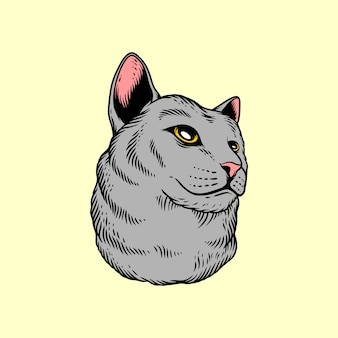 Cabeza de gato en estilo de dibujo a mano