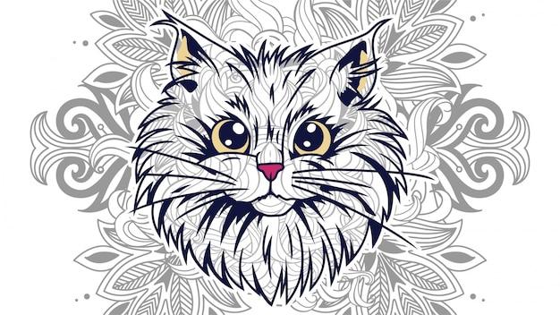Cabeza de gato gracioso de dibujos animados con fondo floral en zentangle estilizado