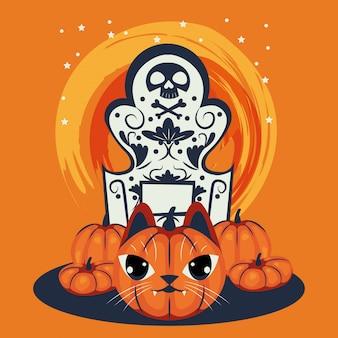 Cabeza de gato de halloween disfrazado de personaje de calabaza