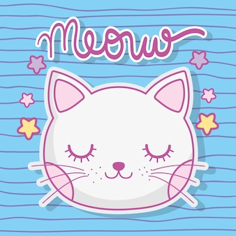 Cabeza de gato lindo animal con estrellas